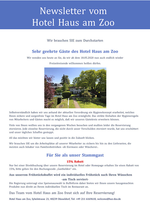 Newsletter Hotel Haus am Zoo