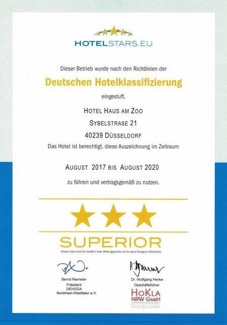 Urkunde 3 Sterne Superior Hotel